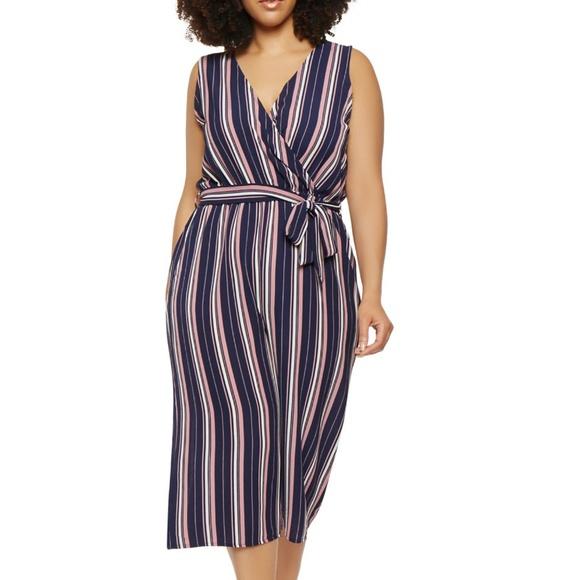 de9c3b1d431b Plus Size Striped Wide Leg Jumpsuit Navy Pink